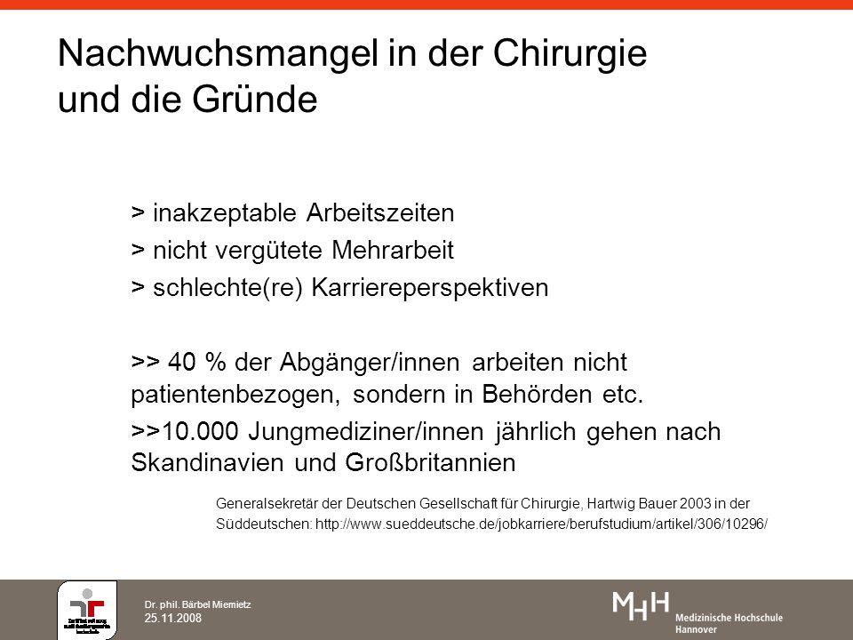 Dr. phil. Bärbel Miemietz 25.11.2008 Nachwuchsmangel in der Chirurgie und die Gründe > inakzeptable Arbeitszeiten > nicht vergütete Mehrarbeit > schle