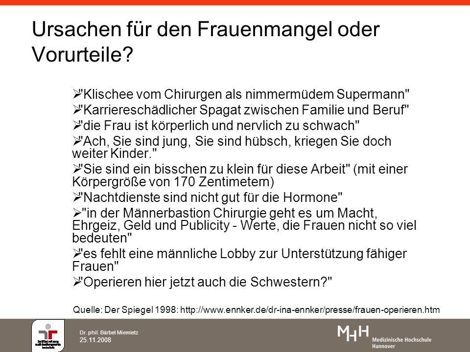 Dr. phil. Bärbel Miemietz 25.11.2008 Ursachen für den Frauenmangel oder Vorurteile?