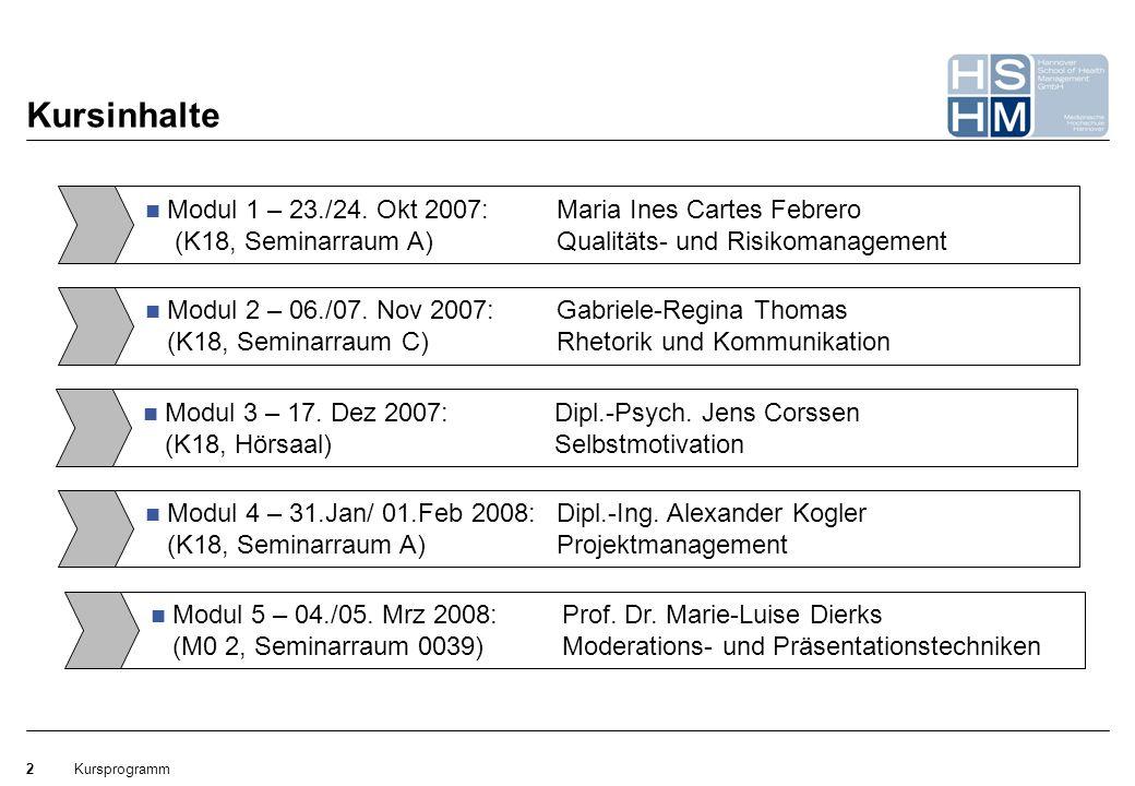 Kursprogramm2 Kursinhalte Modul 1 – 23./24. Okt 2007: Maria Ines Cartes Febrero (K18, Seminarraum A) Qualitäts- und Risikomanagement Modul 2 – 06./07.