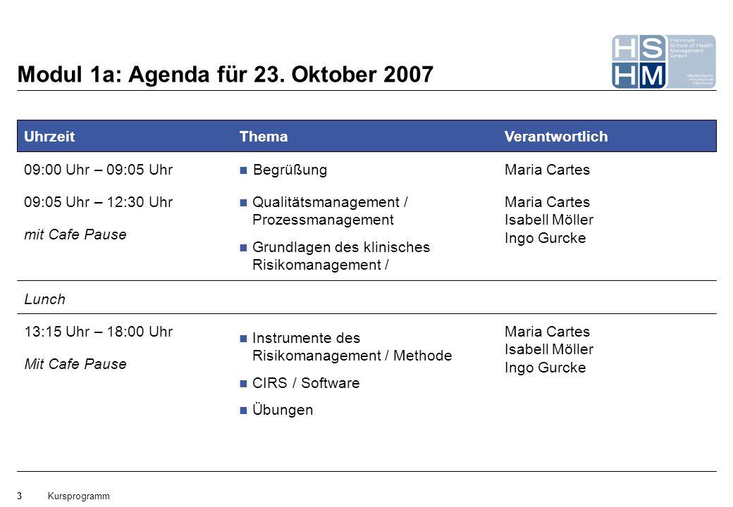 Kursprogramm3 Mit Cafe Pause Modul 1a: Agenda für 23. Oktober 2007 Uhrzeit 09:00 Uhr – 09:05 Uhr Lunch 09:05 Uhr – 12:30 Uhr mit Cafe Pause 13:15 Uhr