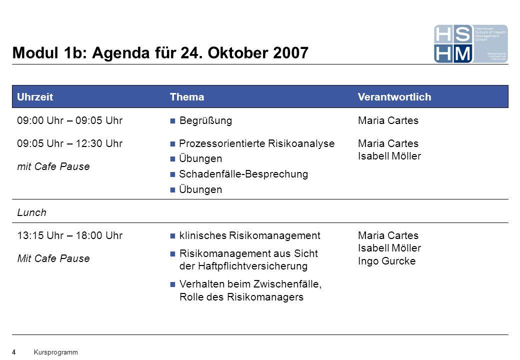 Kursprogramm4 Mit Cafe Pause Modul 1b: Agenda für 24. Oktober 2007 Uhrzeit 09:00 Uhr – 09:05 Uhr Lunch 09:05 Uhr – 12:30 Uhr mit Cafe Pause 13:15 Uhr