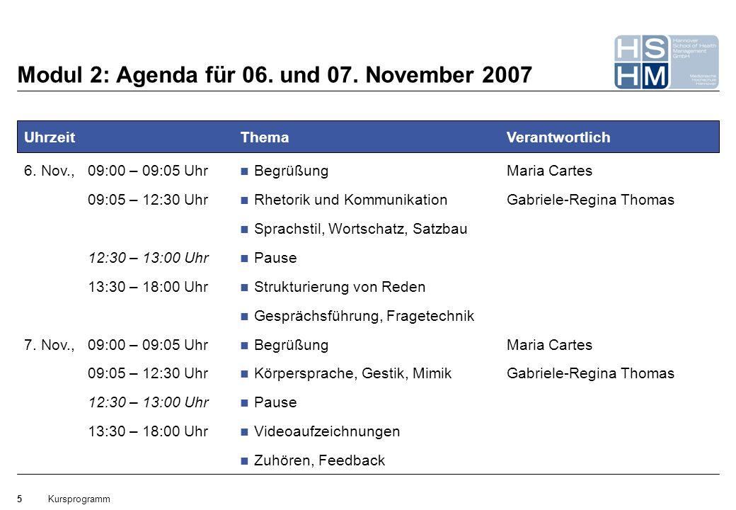 Kursprogramm5 Modul 2: Agenda für 06. und 07. November 2007 Uhrzeit 6. Nov.,09:00 – 09:05 Uhr 09:05 – 12:30 Uhr 12:30 – 13:00 Uhr 13:30 – 18:00 Uhr 7.
