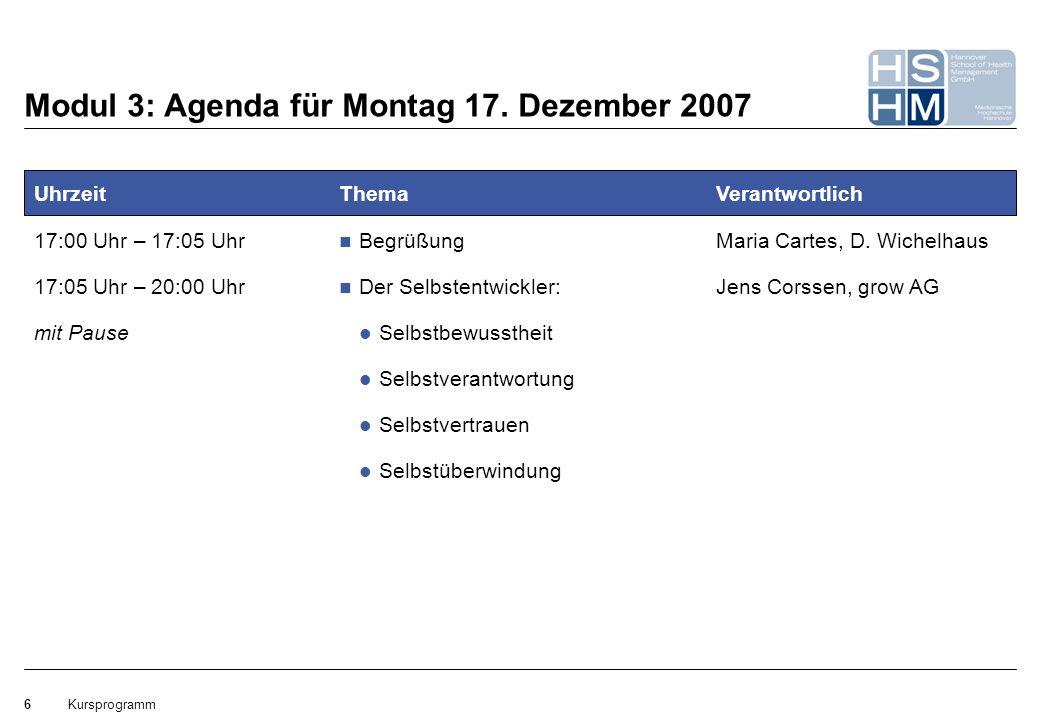 Kursprogramm6 Modul 3: Agenda für Montag 17. Dezember 2007 Uhrzeit 17:00 Uhr – 17:05 Uhr Thema Begrüßung Der Selbstentwickler: Selbstbewusstheit Selbs