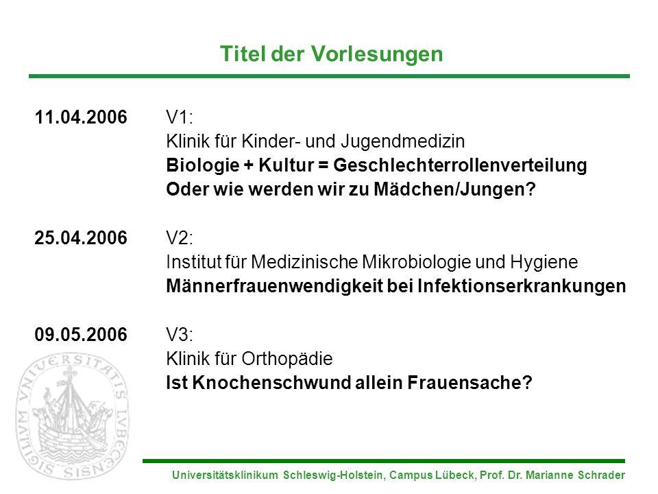 Universitätsklinikum Schleswig-Holstein, Campus Lübeck, Prof. Dr. Marianne Schrader Titel der Vorlesungen 11.04.2006V1: Klinik für Kinder- und Jugendm