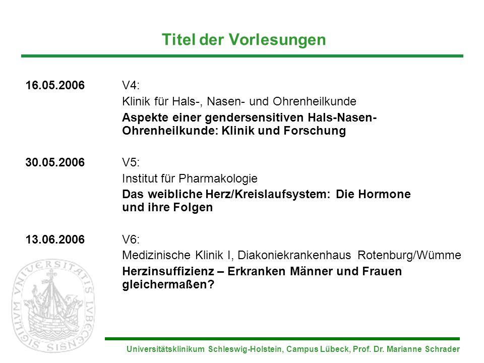 Universitätsklinikum Schleswig-Holstein, Campus Lübeck, Prof. Dr. Marianne Schrader Titel der Vorlesungen 16.05.2006V4: Klinik für Hals-, Nasen- und O