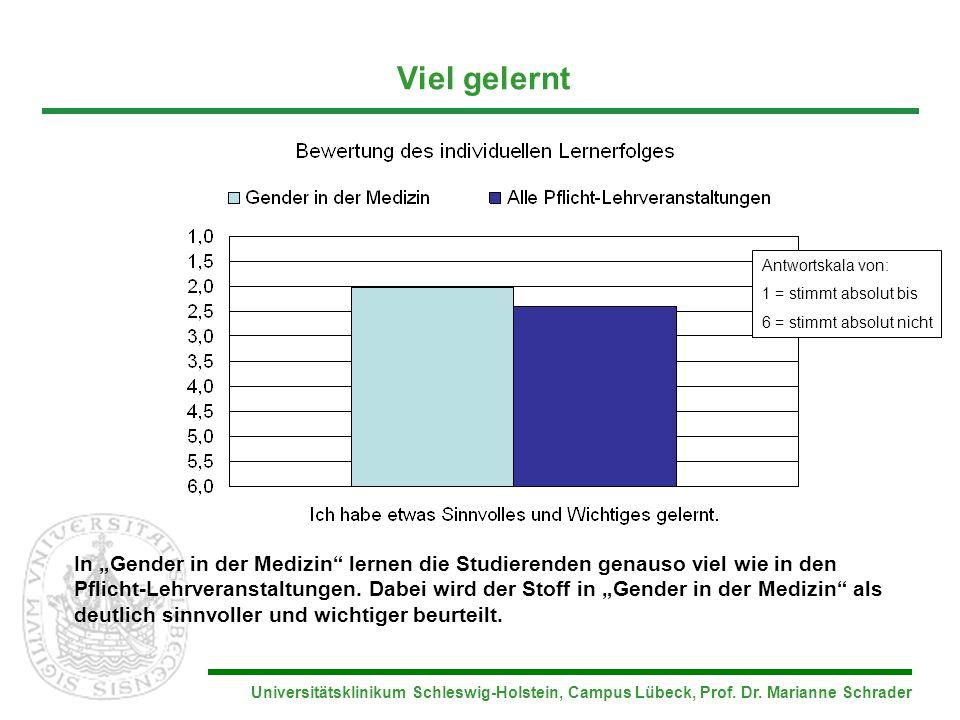 Universitätsklinikum Schleswig-Holstein, Campus Lübeck, Prof. Dr. Marianne Schrader Viel gelernt In Gender in der Medizin lernen die Studierenden gena