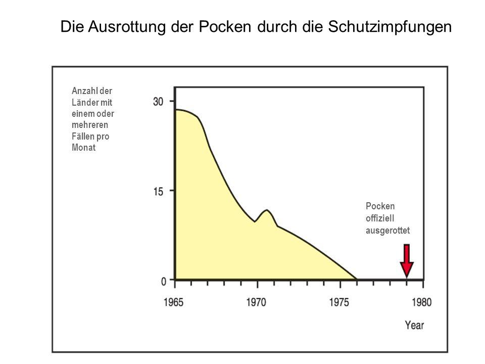 Die Ausrottung der Pocken durch die Schutzimpfungen Anzahl der Länder mit einem oder mehreren Fällen pro Monat Pocken offiziell ausgerottet