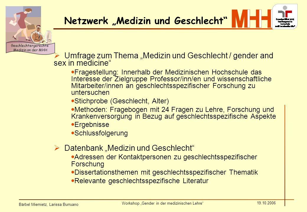 Bärbel Miemietz, Larissa Burruano Workshop Gender in der medizinischen Lehre 19.10.2006 Geschlechtergerechte Medizin an der MHH Rücklauf Umfrage zum Thema Medizin und Geschlecht
