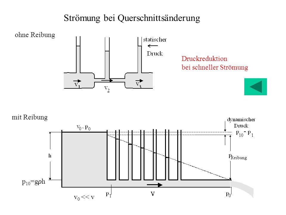 ohne Reibung Druckreduktion bei schneller Strömung Strömung bei Querschnittsänderung mit Reibung p 10 =g h v 0 << v