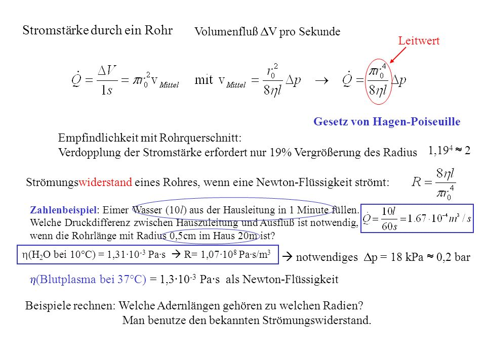 Gesetz von Hagen-Poiseuille Volumenfluß V pro Sekunde Zahlenbeispiel: Eimer Wasser (10l) aus der Hausleitung in 1 Minute füllen. Welche Druckdifferenz
