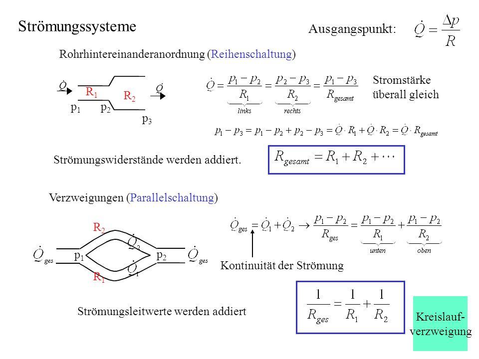 Strömungssysteme Rohrhintereinanderanordnung (Reihenschaltung) Stromstärke überall gleich Strömungswiderstände werden addiert. Q Q p1p1 p3p3 p2p2 R1R1