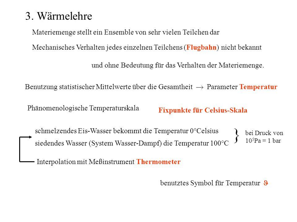 3.1 Wärmeausdehnung Versuch: Kugel Metalle ungefähr 110 -5 /°CQuarz ungefähr 110 -6 /°C Ausdehnungs- koeffizient Längenausdehnung reversibel Schalter
