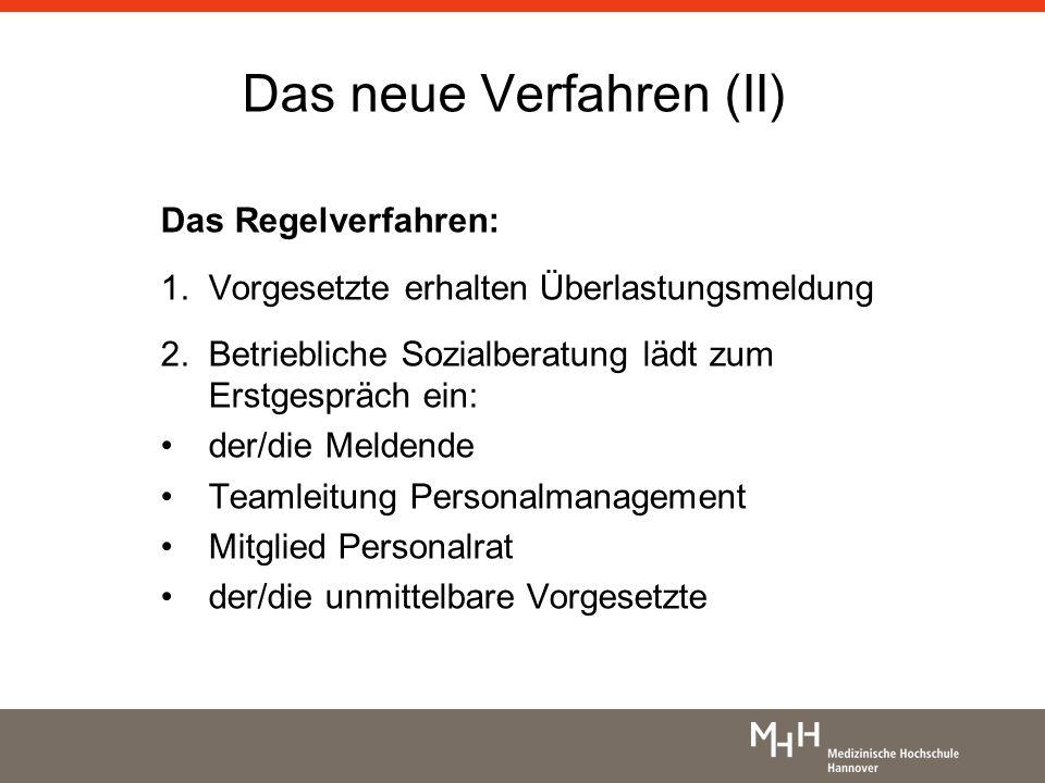 Das neue Verfahren (II) Das Regelverfahren: 1.Vorgesetzte erhalten Überlastungsmeldung 2. Betriebliche Sozialberatung lädt zum Erstgespräch ein: der/d