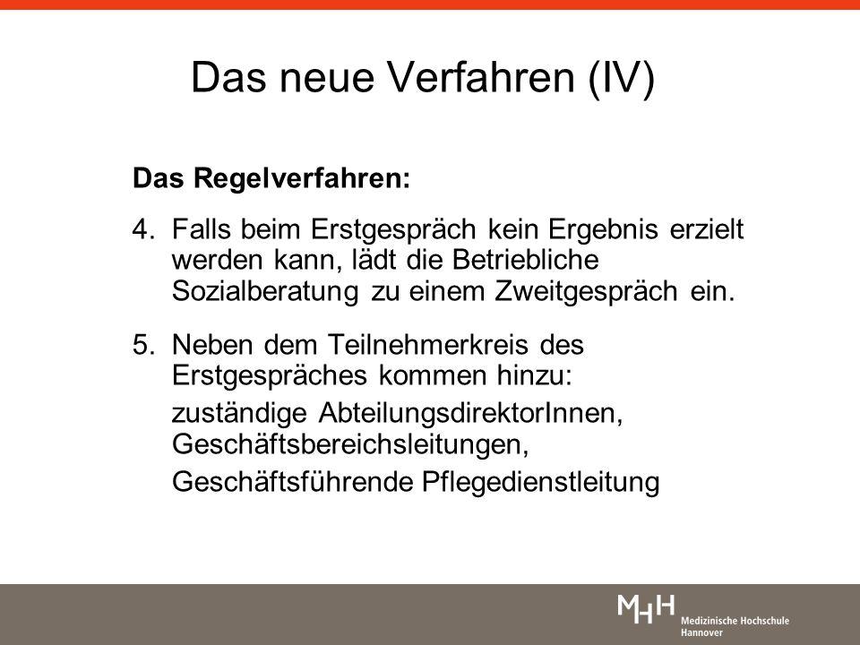 Das neue Verfahren (IV) Das Regelverfahren: 4. Falls beim Erstgespräch kein Ergebnis erzielt werden kann, lädt die Betriebliche Sozialberatung zu eine