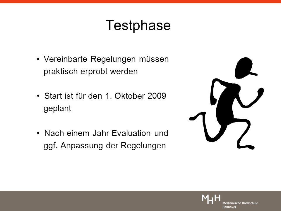 Testphase Vereinbarte Regelungen müssen praktisch erprobt werden Start ist für den 1. Oktober 2009 geplant Nach einem Jahr Evaluation und ggf. Anpassu
