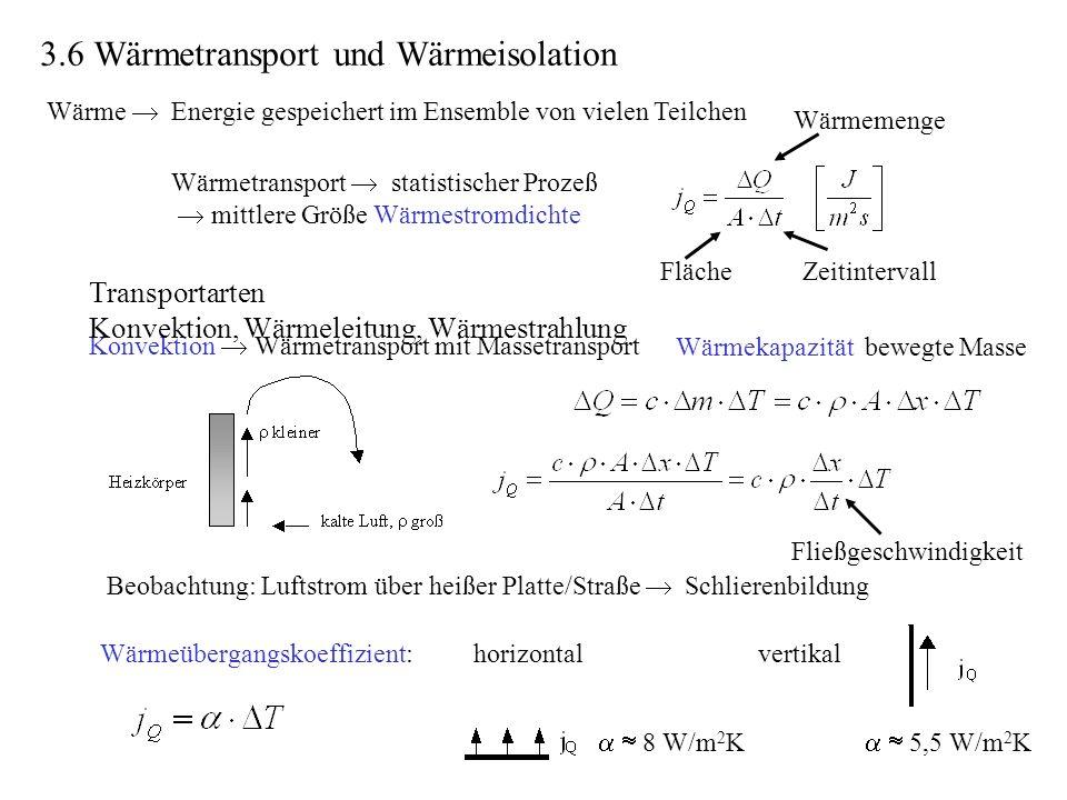 Wärme Energie gespeichert im Ensemble von vielen Teilchen Wärmetransport statistischer Prozeß mittlere Größe Wärmestromdichte Wärmemenge FlächeZeitint