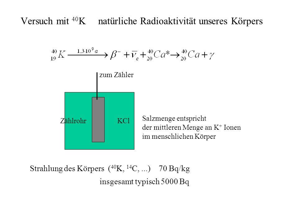 KClZählrohr zum Zähler Salzmenge entspricht der mittleren Menge an K + Ionen im menschlichen Körper Strahlung des Körpers ( 40 K, 14 C,...) 70 Bq/kg i