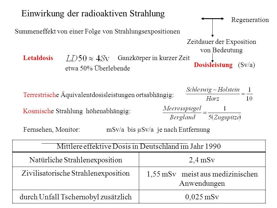 LetaldosisGanzkörper in kurzer Zeit etwa 50% Überlebende Summeneffekt von einer Folge von Strahlungsexpositionen Regeneration Zeitdauer der Exposition