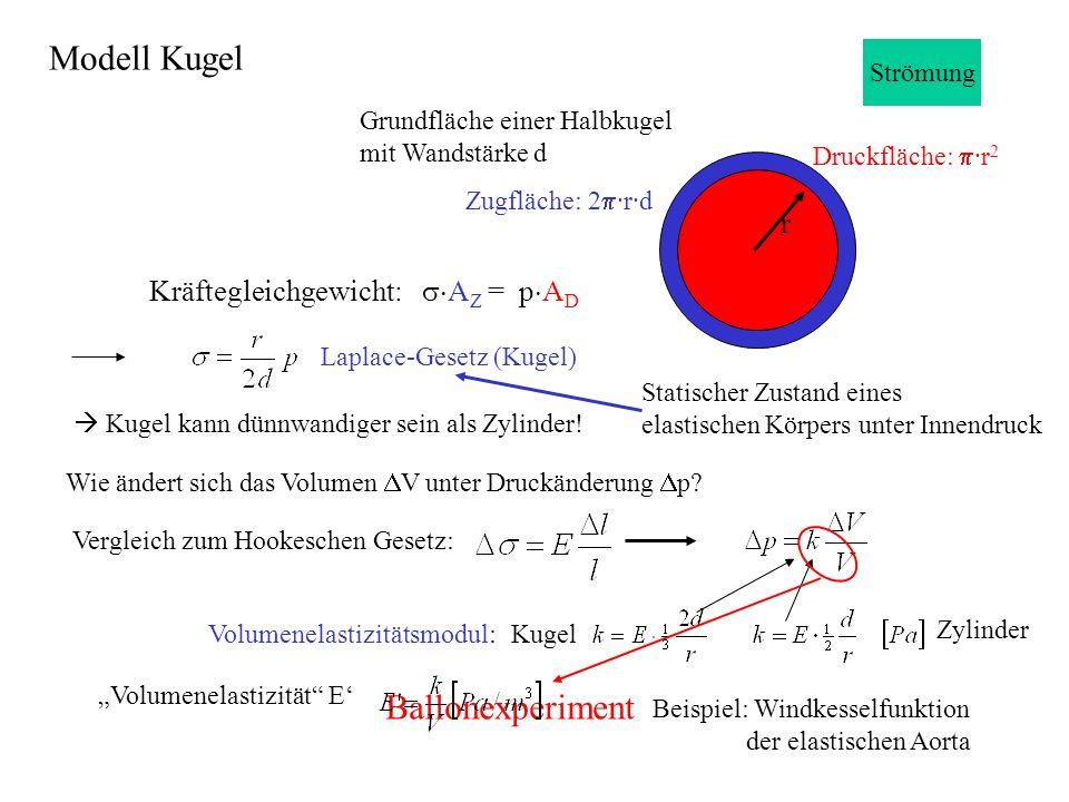 Grundfläche einer Halbkugel mit Wandstärke d Druckfläche: ·r 2 Zugfläche: 2 ·r·d Kräftegleichgewicht: A Z = p A D Laplace-Gesetz (Kugel) Kugel kann dünnwandiger sein als Zylinder.
