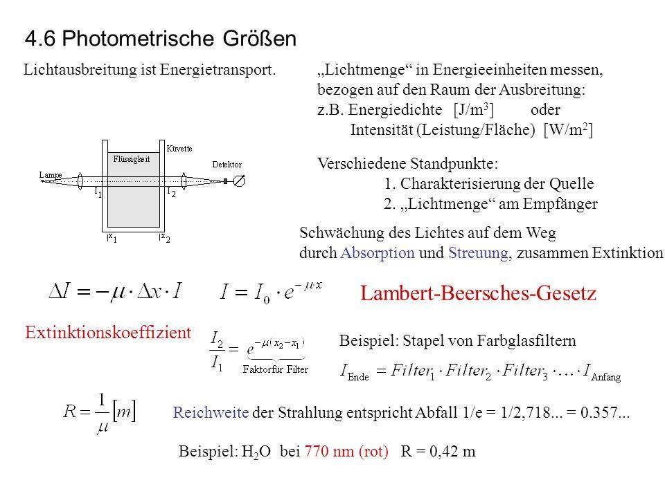 Lichtausbreitung ist Energietransport.Lichtmenge in Energieeinheiten messen, bezogen auf den Raum der Ausbreitung: z.B. Energiedichte [J/m 3 ] oder In