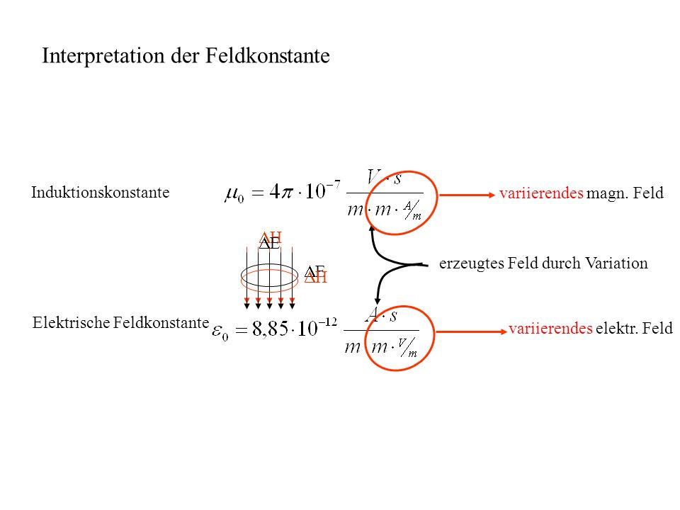 Elektrische Feldkonstante H E E H variierendes elektr.
