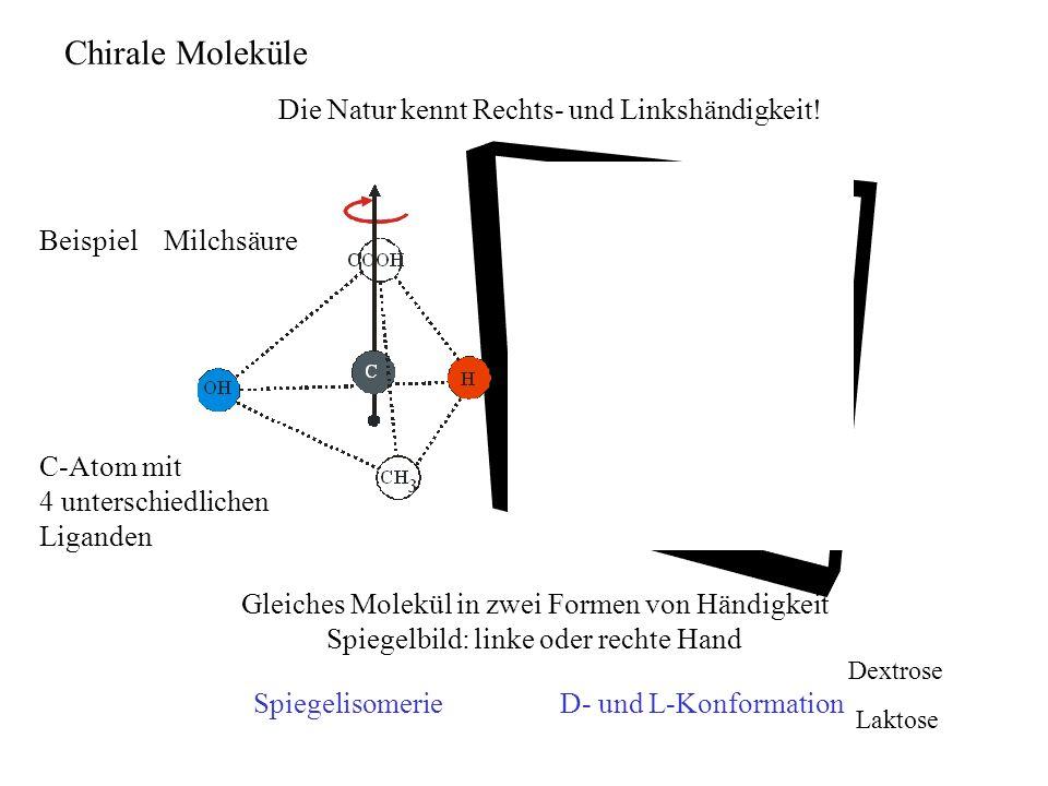 Chirale Moleküle Gleiches Molekül in zwei Formen von Händigkeit Spiegelbild: linke oder rechte Hand Beispiel Milchsäure C-Atom mit 4 unterschiedlichen Liganden Die Natur kennt Rechts- und Linkshändigkeit.