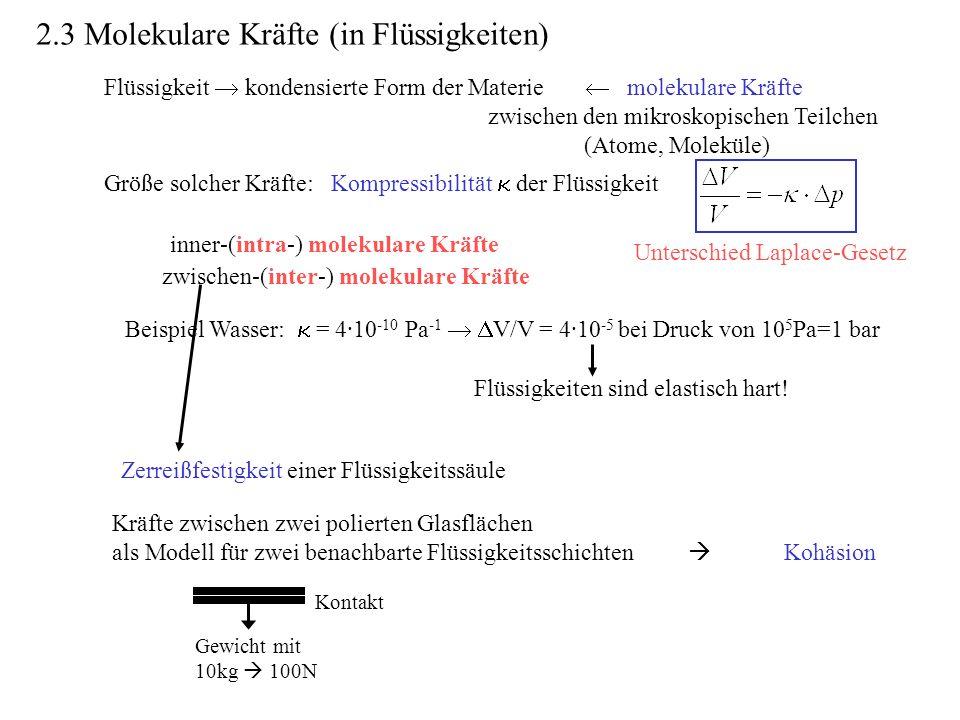 Flüssigkeit kondensierte Form der Materie molekulare Kräfte zwischen den mikroskopischen Teilchen (Atome, Moleküle) Beispiel Wasser: = 4·10 -10 Pa -1 V/V = 4·10 -5 bei Druck von 10 5 Pa=1 bar Flüssigkeiten sind elastisch hart.