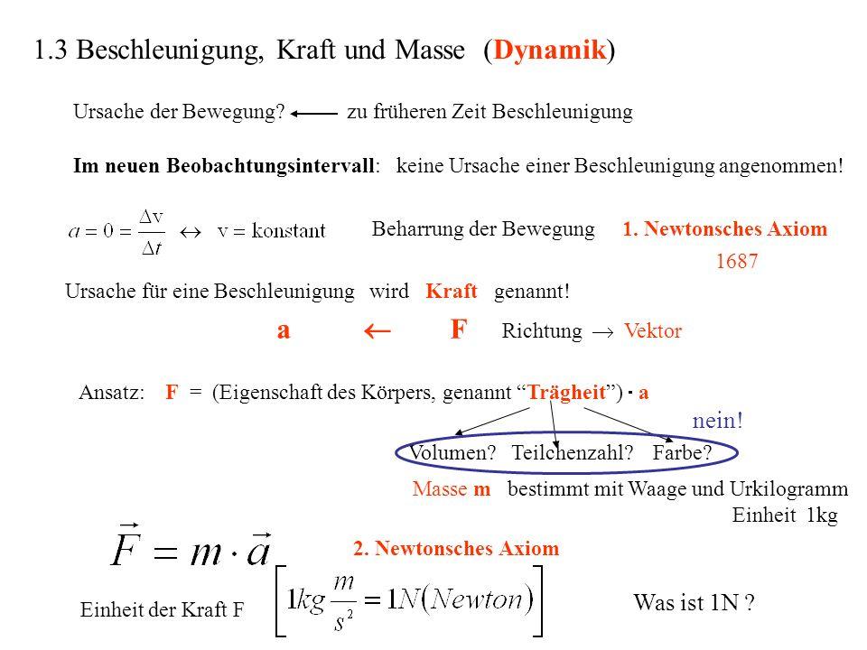 1.3 Beschleunigung, Kraft und Masse (Dynamik) Ursache für eine Beschleunigung wird Kraft genannt! a F Richtung Vektor Ansatz:F = (Eigenschaft des Körp