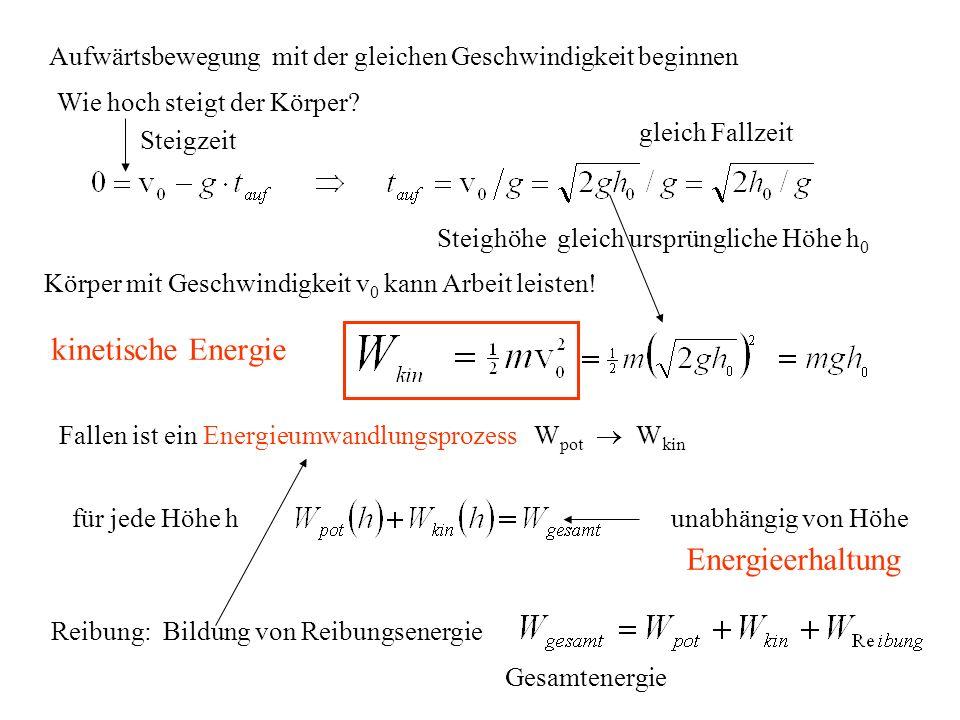 kinetische Energie Aufwärtsbewegung mit der gleichen Geschwindigkeit beginnen Wie hoch steigt der Körper? Steigzeit gleich Fallzeit Steighöhe gleich u