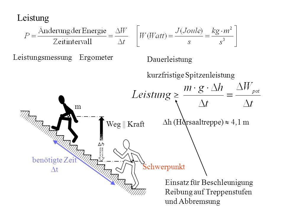 Schwerpunkt m Weg || Kraft benötigte Zeit t Leistung Leistungsmessung Ergometer kurzfristige Spitzenleistung Dauerleistung h (Hörsaaltreppe) 4,1 m Ein