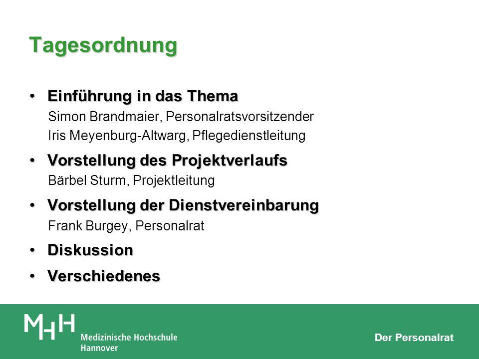 Der Personalrat Tagesordnung Einführung in das ThemaEinführung in das Thema Simon Brandmaier, Personalratsvorsitzender Iris Meyenburg-Altwarg, Pfleged