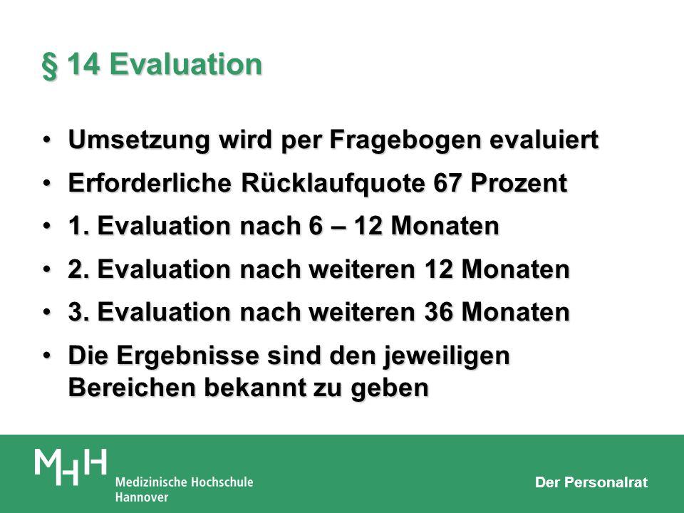 Der Personalrat § 14 Evaluation Umsetzung wird per Fragebogen evaluiertUmsetzung wird per Fragebogen evaluiert Erforderliche Rücklaufquote 67 ProzentE