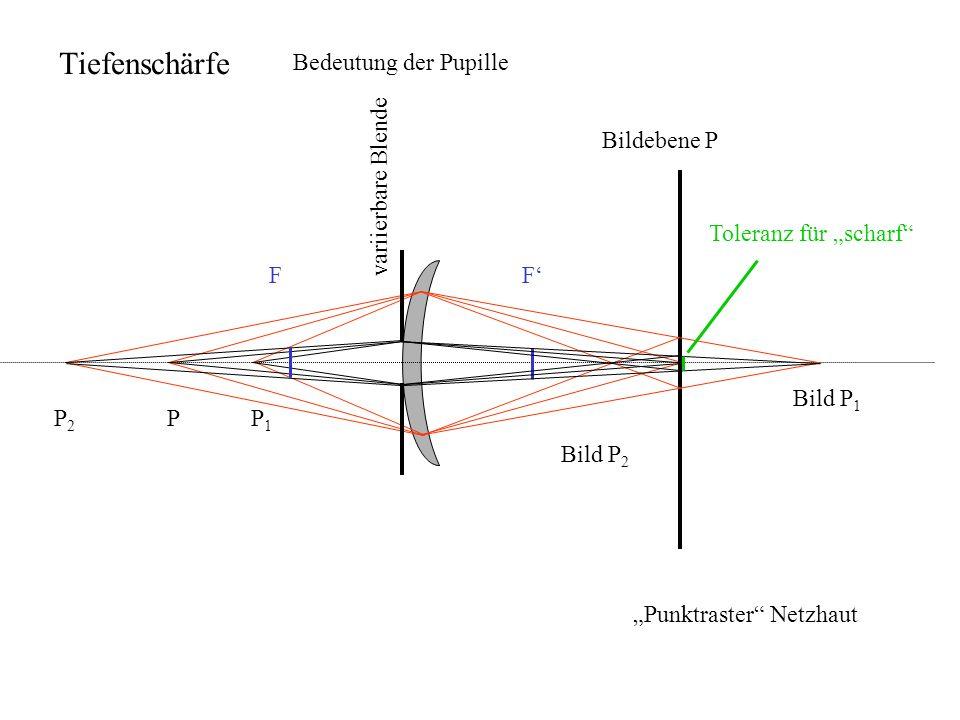 Bildebene P variierbare Blende PP2P2 P1P1 Bild P 1 Bild P 2 FF Toleranz für scharf Bedeutung der Pupille Tiefenschärfe Punktraster Netzhaut