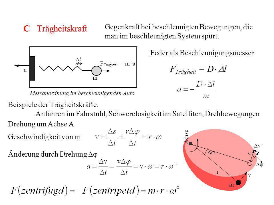C Trägheitskraft Gegenkraft bei beschleunigten Bewegungen, die man im beschleunigten System spürt. Feder als Beschleunigungsmesser F Trägheit = D l a