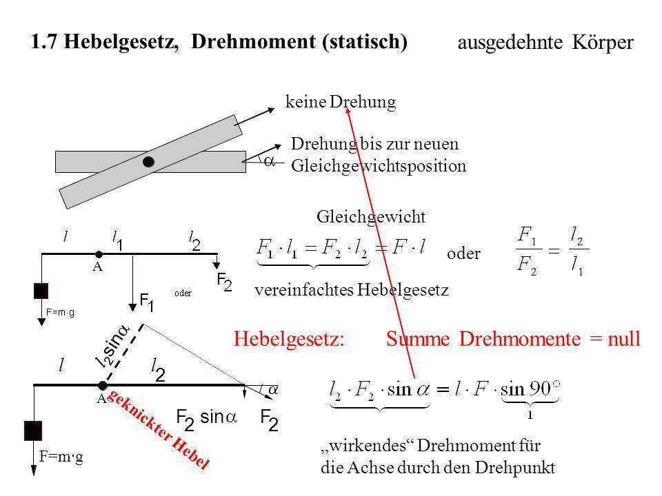 1.7 Hebelgesetz, Drehmoment (statisch) keine Drehung Drehung bis zur neuen Gleichgewichtsposition Gleichgewicht oder vereinfachtes Hebelgesetz wirkend