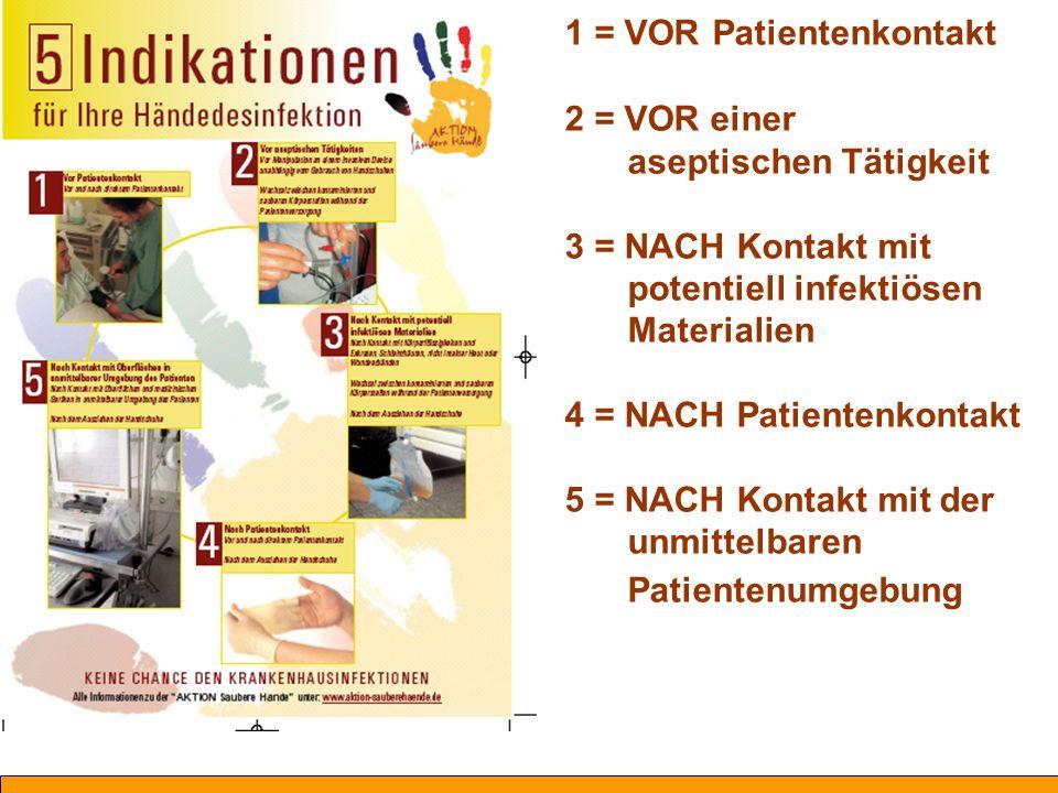 Die Händedesinfektion erfolgt, bevor der Mitarbeiter den Patienten berührt.