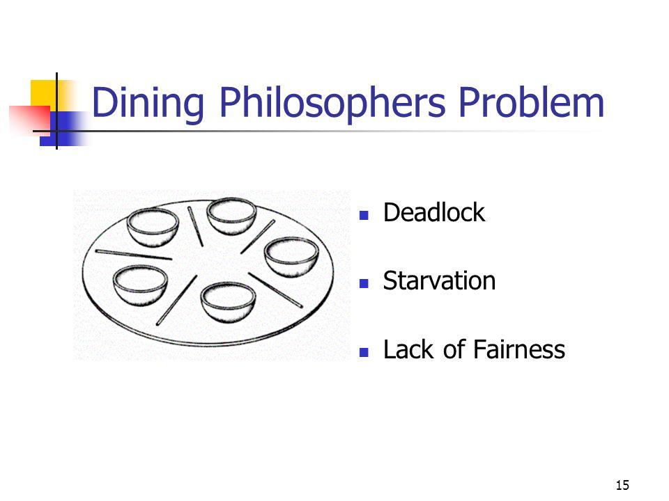 15 Dining Philosophers Problem Deadlock Starvation Lack of Fairness