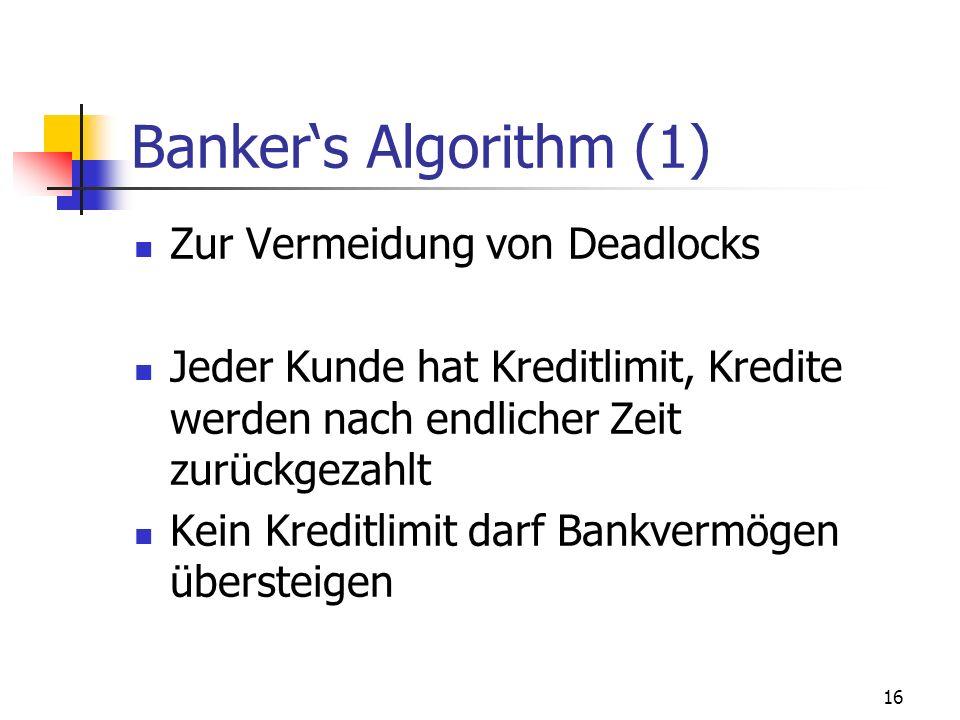 16 Bankers Algorithm (1) Zur Vermeidung von Deadlocks Jeder Kunde hat Kreditlimit, Kredite werden nach endlicher Zeit zurückgezahlt Kein Kreditlimit d