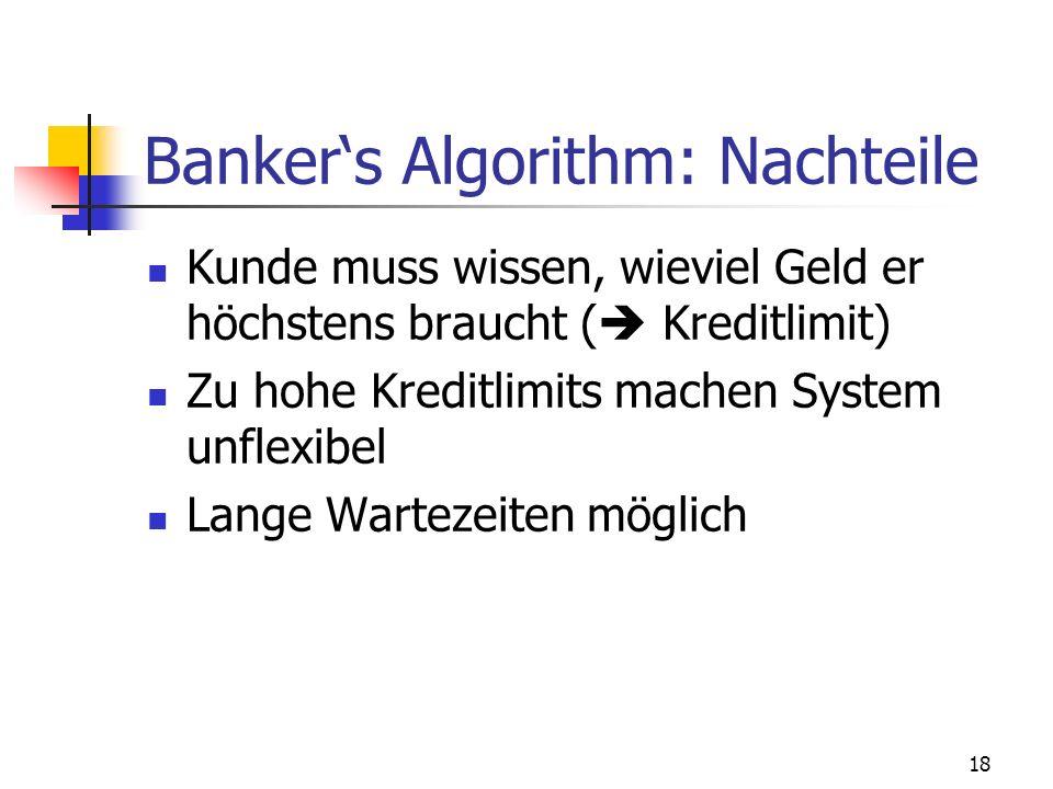 18 Bankers Algorithm: Nachteile Kunde muss wissen, wieviel Geld er höchstens braucht ( Kreditlimit) Zu hohe Kreditlimits machen System unflexibel Lang