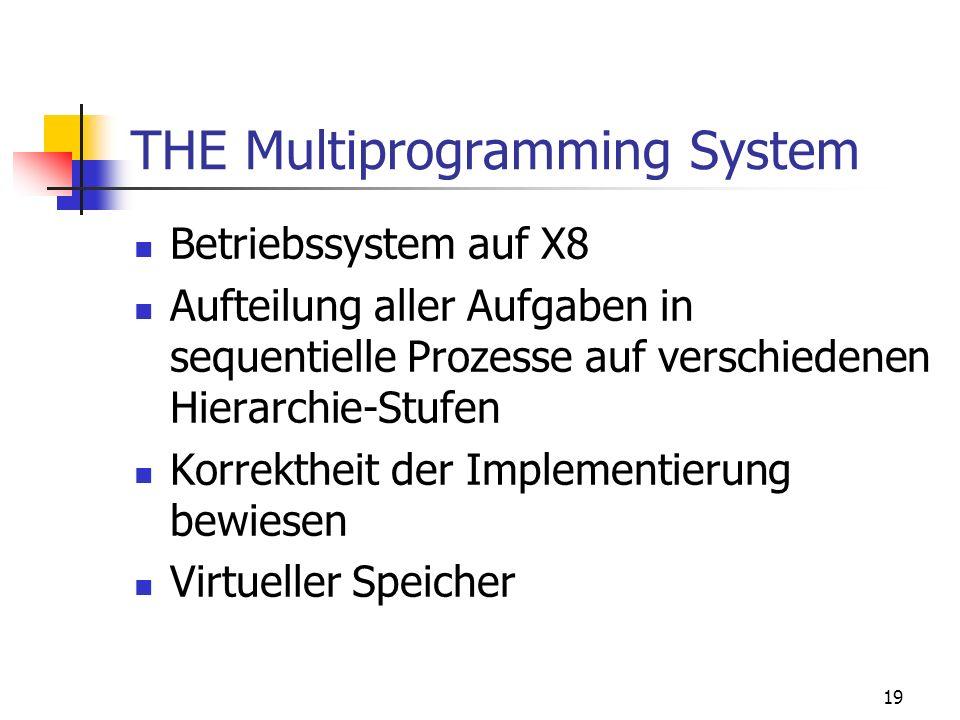 19 THE Multiprogramming System Betriebssystem auf X8 Aufteilung aller Aufgaben in sequentielle Prozesse auf verschiedenen Hierarchie-Stufen Korrekthei
