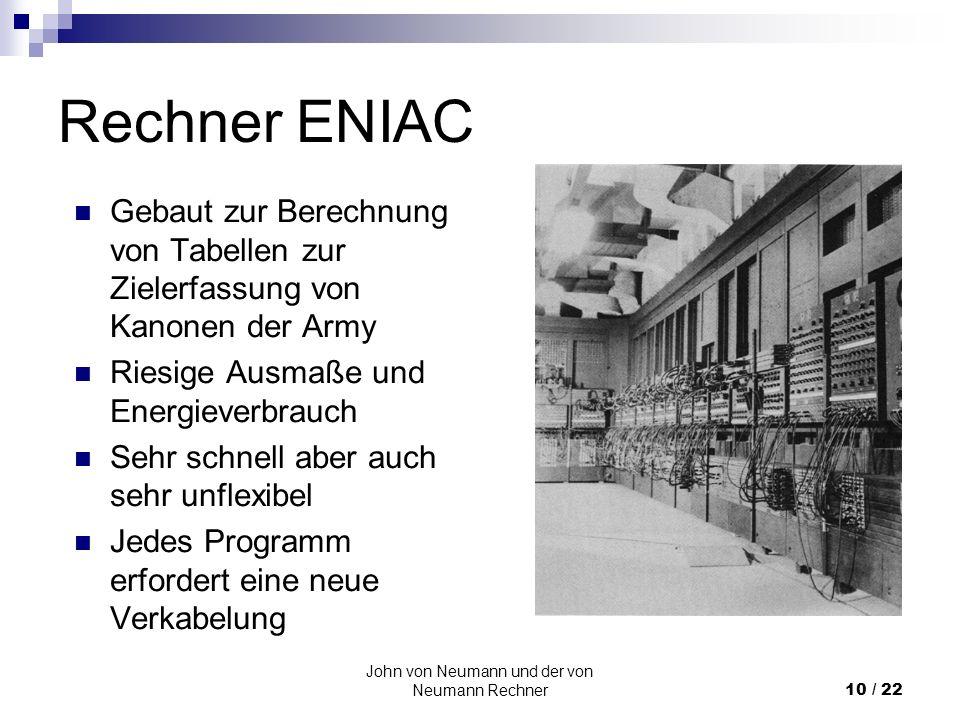 John von Neumann und der von Neumann Rechner10 / 22 Rechner ENIAC Gebaut zur Berechnung von Tabellen zur Zielerfassung von Kanonen der Army Riesige Au