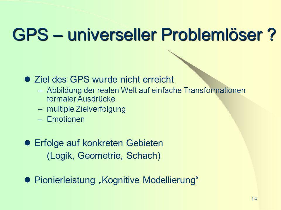 14 GPS – universeller Problemlöser ? Ziel des GPS wurde nicht erreicht –Abbildung der realen Welt auf einfache Transformationen formaler Ausdrücke –mu