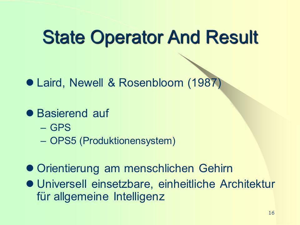 16 State Operator And Result Laird, Newell & Rosenbloom (1987) Basierend auf –GPS –OPS5 (Produktionensystem) Orientierung am menschlichen Gehirn Unive