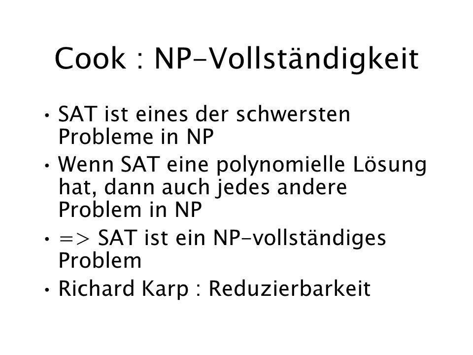Cook : NP-Vollständigkeit SAT ist eines der schwersten Probleme in NP Wenn SAT eine polynomielle Lösung hat, dann auch jedes andere Problem in NP => SAT ist ein NP-vollständiges Problem Richard Karp : Reduzierbarkeit