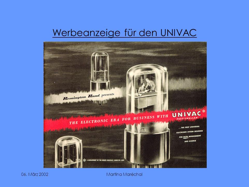 06. März 2002Martina Maréchal Werbeanzeige für den UNIVAC