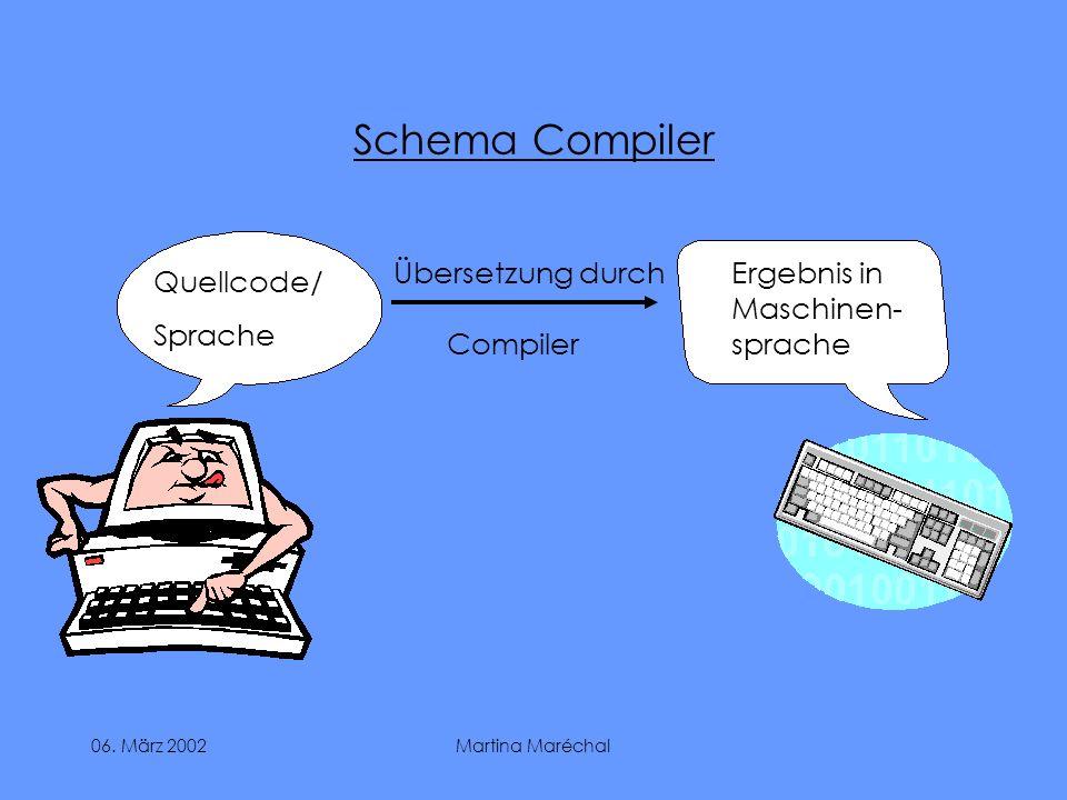 06. März 2002Martina Maréchal Schema Compiler Quellcode/ Sprache Ergebnis in Maschinen- sprache Übersetzung durch Compiler