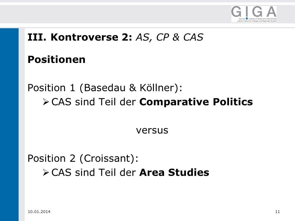 10.01.201411 III. Kontroverse 2: AS, CP & CAS Positionen Position 1 (Basedau & Köllner): CAS sind Teil der Comparative Politics versus Position 2 (Cro