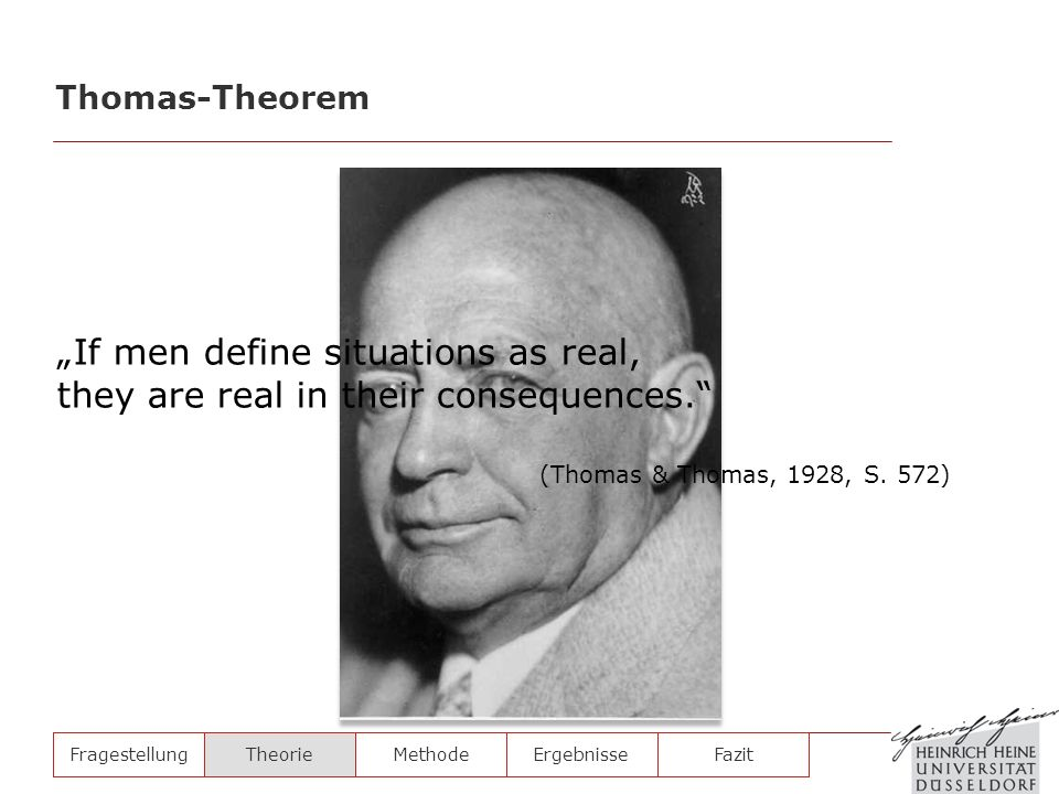If men define situations as real, they are real in their consequences. Thomas-Theorem FragestellungTheorieMethodeErgebnisse Fazit (Thomas & Thomas, 19