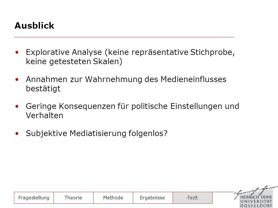 Explorative Analyse (keine repräsentative Stichprobe, keine getesteten Skalen) Annahmen zur Wahrnehmung des Medieneinflusses bestätigt Geringe Konsequ