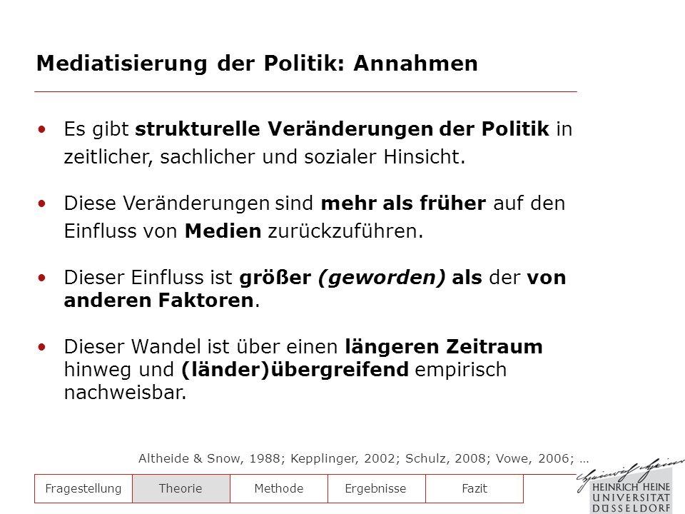 Mediatisierung der Politik: Annahmen FragestellungTheorieMethodeErgebnisse Es gibt strukturelle Veränderungen der Politik in zeitlicher, sachlicher un